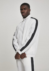Pánska prechodná bunda URBAN CLASSICS Striped Sleeve Crinkle Track Jacket wht/blk