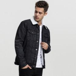 Pánska prechodná bundaUrban Classics Sherpa Denim Jacket black washed