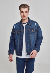 Pánska riflová bunda URBAN CLASSICS RIPPED DENIM JACKET BLUE WASHED