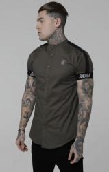Pánska šedá košeľa s krátkym rukávom Sik Silk Tech Tape Grandad