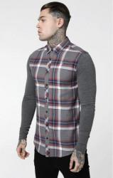 Pánska šedá košeľa Sik Silk Flannel Standard
