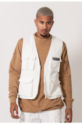 Pánska vesta Sixth June cargo fishing reflective jacket off-white