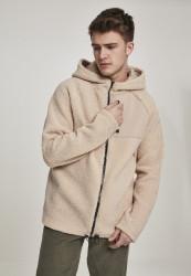 Pánska zateplená mikina URBAN CLASSICS Hooded Sherpa Zip Jacket béžová Farba: Béžová,