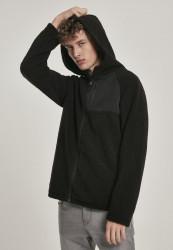 Pánska zateplená mikina URBAN CLASSICS Hooded Sherpa Zip Jacket čierna Farba: Čierna,