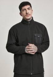 Pánska zateplená mikina URBAN CLASSICS Polar Fleece Track Jacket čierna Farba: Čierna,