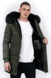 Pánska zimná bunda Sixth June big fur parka khaki black