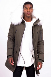 Pánska zimná bunda Sixth June big fur parka khaki white