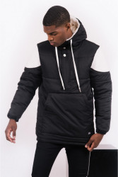 Pánska zimná bunda Sixth June biker half zipped puffer jacket black white #1