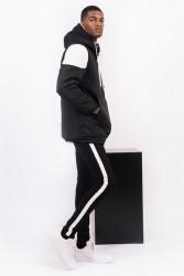 Pánska zimná bunda Sixth June biker half zipped puffer jacket black white #2