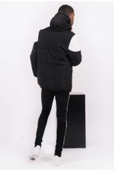 Pánska zimná bunda Sixth June biker half zipped puffer jacket black white #3