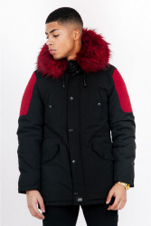 Pánska zimná bunda Sixth June biker parka black red