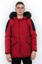 Pánska zimná bunda Sixth June biker parka red black