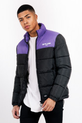 Pánska zimná bunda Sixth June colour-block logo puffer jacket black purple