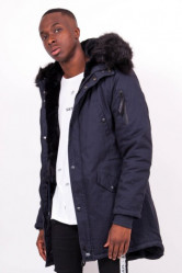 Pánska zimná bunda Sixth June lining fur parka navy black