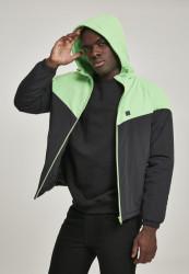 Pánska zimná bunda Urban Classics 2-Tone Padded Windrunner black/neon green