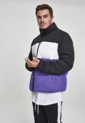 Pánska zimná bunda Urban Classics 3-Tone Boxy Puffer Jacket black/ultraviolet/white