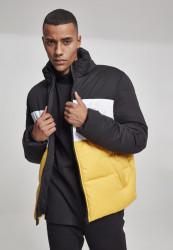 Pánska zimná bunda Urban Classics 3-Tone Boxy Puffer Jacket blk/chromeyellow/wht