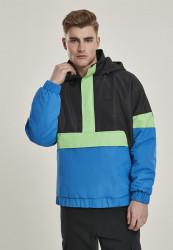 Pánska zimná bunda Urban Classics 3-Tone Neon Mix Pull Over Jacket black/cobaltblue