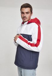 Pánska zimná bunda URBAN CLASSICS 3-Tone Padded Pull Over Hooded Jacket navy/white/fire red