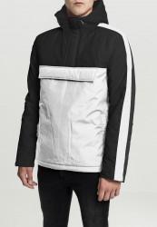 Pánska zimná bunda URBAN CLASSICS 3-Tone Padded Pull Over Hooded Jacket wht/blk/blk Velikost: S, Objem: pánske