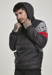 Pánska zimná bunda Urban Classics Animal Mixed Pull Over Jacket black/snowtiger