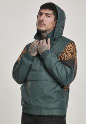 Pánska zimná bunda Urban Classics Animal Mixed Pull Over Jacket bottlegreen/tiger