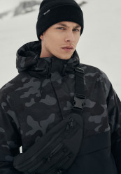 Pánska zimná bunda Urban Classics Camo Mix Pull Over Jacket black/darkcamo