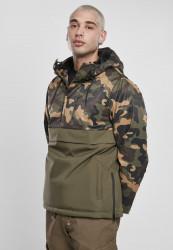Pánska zimná bunda Urban Classics Camo Mix Pull Over Jacket olive/wood camo