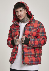 Pánska zimná bunda Urban Classics Hooded Check Puffer Jacket red/black