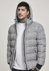 Pánska zimná bunda Urban Classics Hooded Check Puffer Jacket white/black
