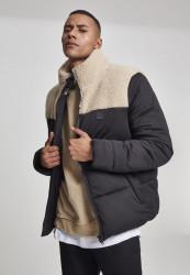 Pánska zimná bunda URBAN CLASSICS Sherpa Mix Boxy Puffer Jacket blk/darksand
