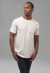 Pánske béžové tričko URBAN CLASSICS Ripped Pocket Tee sand Farba: Béžová,