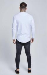 Pánske biele tričko s dlhým rukávom Sik Silk Long Sleeve Gym #3