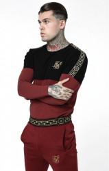 Pánske bordové tričko s dlhým rukávom Sik Silk Cartel Cut & Sew Half Tape