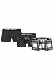 Pánske boxerky Urban Classics Boxer Shorts 3-Pack char.+logo aop+wht plaid aop