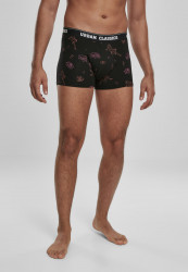 Pánske boxerky URBAN CLASSICS Boxer Shorts 3-Pack charcoal/funky AOP/black