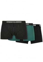 Pánske boxerky Urban Classics Organic Boxer Shorts 3-Pack pinstripe aop+black