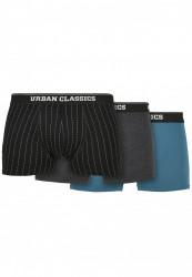 Pánske boxerky Urban Classics Organic Boxer Shorts 3-Pack pinstripe aop+charcoal
