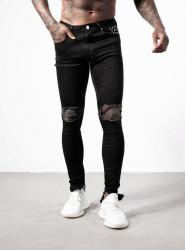 Pánske čierne rifle ALIVE DENIM Stacked Blownout Zip Jeans