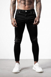 Pánske čierne ripnuté rifle ALIVE Denim Distressed Jeans