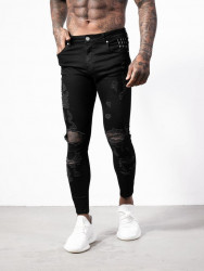 Pánske čierne ripnuté rifle ALIVE Denim Shredded Jeans