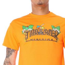 Pánske čierne tričko Thrasher TIKI TEE SAFETY ORANGE #3