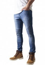 Pánske jeansy URBAN CLASSICS SLIM FIT BIKER blue washed