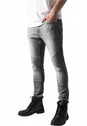 Pánske jeansy URBAN CLASSICS SLIM FIT BIKER grey