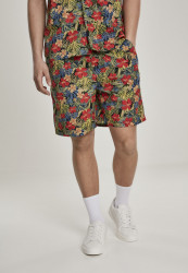 Pánske kraťasy URBAN CLASSICS Pattern Resort Shorts black/tropical