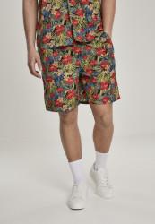 Pánske kraťasy URBAN CLASSICS Pattern Resort Shorts black/tropical