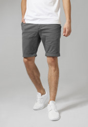 Pánske kraťasy URBAN CLASSICS Stretch Turnup Chino Shorts darkgrey