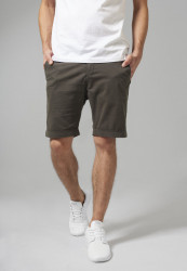 Pánske kraťasy URBAN CLASSICS Stretch Turnup Chino Shorts darkolive