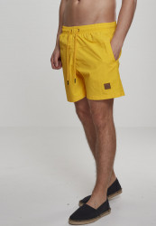 Pánske kúpacie kraťase Urban Classics Block Swim Shorts chrome yellow
