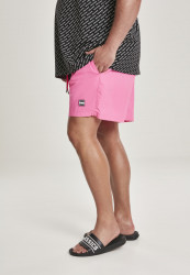 Pánske kúpacie kraťase Urban Classics Block Swim Shorts neonpink #1